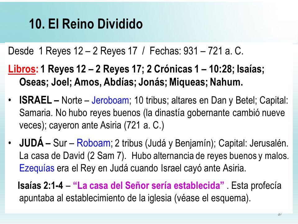 37 10. El Reino Dividido Desde 1 Reyes 12 – 2 Reyes 17 / Fechas: 931 – 721 a. C. Libros: 1 Reyes 12 – 2 Reyes 17; 2 Crónicas 1 – 10:28; Isaías; Oseas;