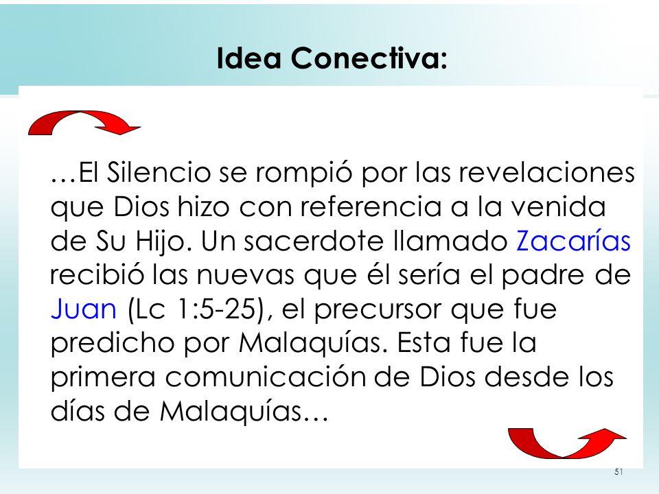 51 Idea Conectiva: …El Silencio se rompió por las revelaciones que Dios hizo con referencia a la venida de Su Hijo. Un sacerdote llamado Zacarías reci