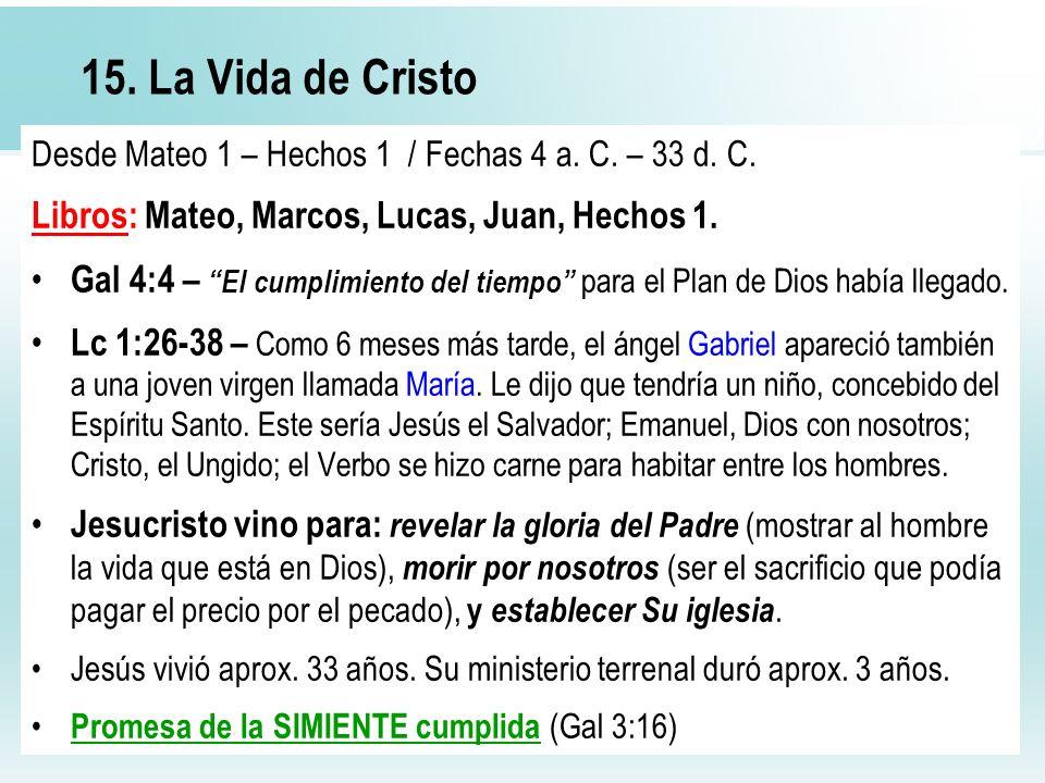 52 15. La Vida de Cristo Desde Mateo 1 – Hechos 1 / Fechas 4 a. C. – 33 d. C. Libros: Mateo, Marcos, Lucas, Juan, Hechos 1. Gal 4:4 – El cumplimiento