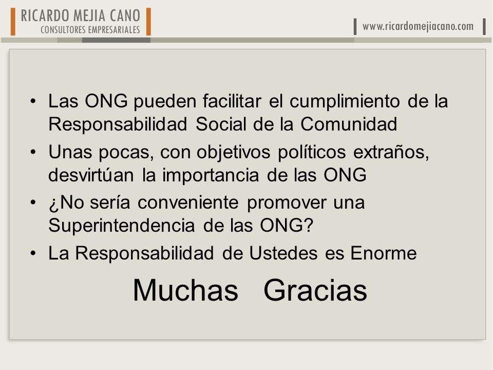 Las ONG pueden facilitar el cumplimiento de la Responsabilidad Social de la Comunidad Unas pocas, con objetivos políticos extraños, desvirtúan la impo