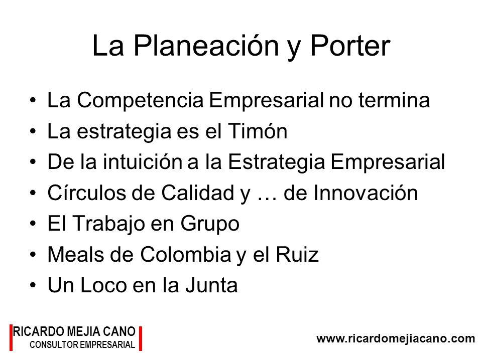 www.ricardomejiacano.com RICARDO MEJIA CANO CONSULTOR EMPRESARIAL La Planeación y Porter La Competencia Empresarial no termina La estrategia es el Tim