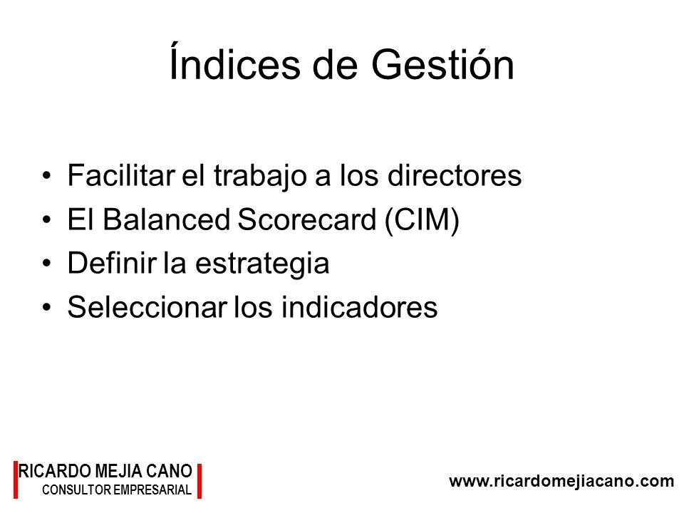 www.ricardomejiacano.com RICARDO MEJIA CANO CONSULTOR EMPRESARIAL Índices de Gestión Facilitar el trabajo a los directores El Balanced Scorecard (CIM)