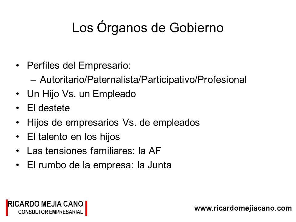 www.ricardomejiacano.com RICARDO MEJIA CANO CONSULTOR EMPRESARIAL Los Órganos de Gobierno Perfiles del Empresario: –Autoritario/Paternalista/Participa