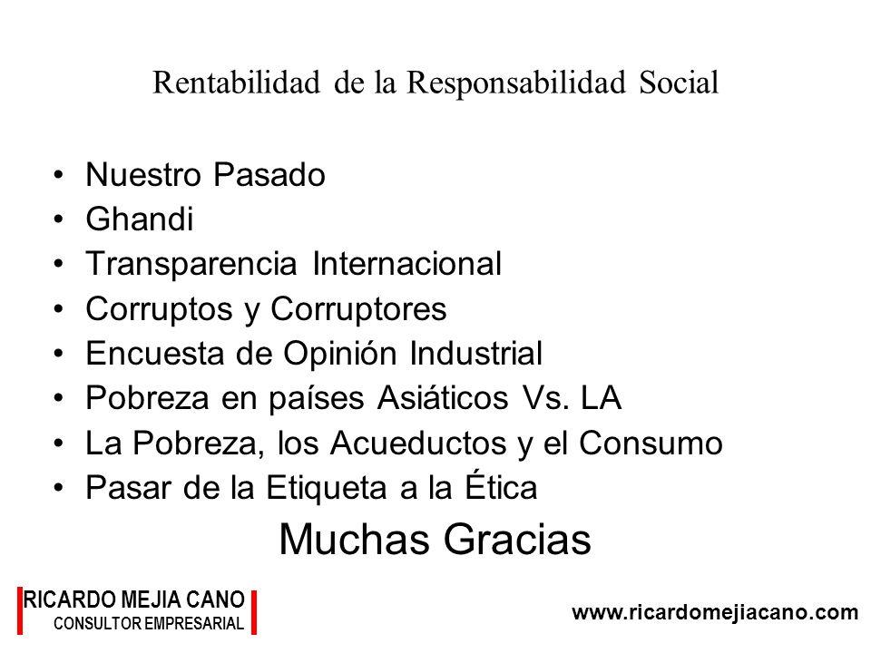 www.ricardomejiacano.com RICARDO MEJIA CANO CONSULTOR EMPRESARIAL Rentabilidad de la Responsabilidad Social Nuestro Pasado Ghandi Transparencia Intern