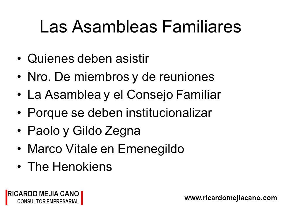 www.ricardomejiacano.com RICARDO MEJIA CANO CONSULTOR EMPRESARIAL Las Asambleas Familiares Quienes deben asistir Nro. De miembros y de reuniones La As