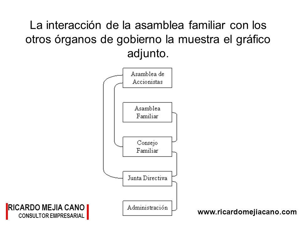 www.ricardomejiacano.com RICARDO MEJIA CANO CONSULTOR EMPRESARIAL La interacción de la asamblea familiar con los otros órganos de gobierno la muestra