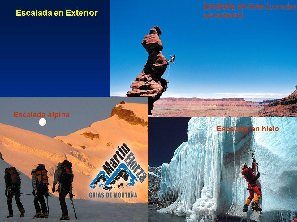 Escalada en roca ( con todas sus variantes ) Escalada en hielo Escalada alpina Escalada en Exterior