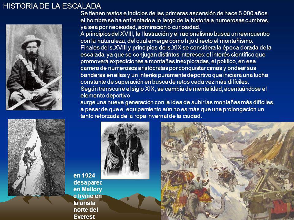 HISTORIA DE LA ESCALADA Se tienen restos e indicios de las primeras ascensión de hace 5.000 años. el hombre se ha enfrentado a lo largo de la historia