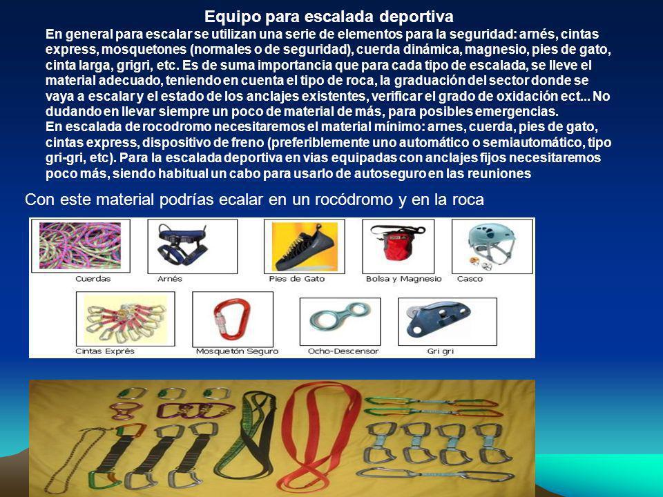 Equipo para escalada deportiva En general para escalar se utilizan una serie de elementos para la seguridad: arnés, cintas express, mosquetones (norma