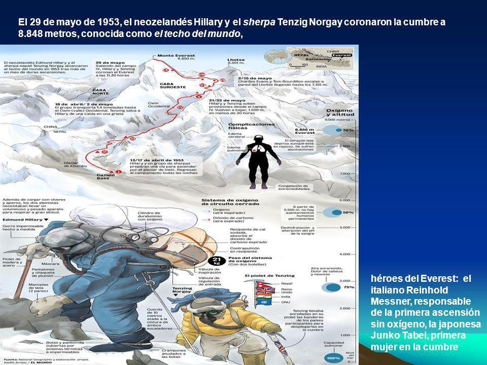 El 29 de mayo de 1953, el neozelandés Hillary y el sherpa Tenzig Norgay coronaron la cumbre a 8.848 metros, conocida como el techo del mundo, héroes d