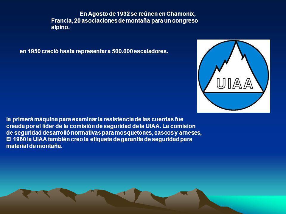 En Agosto de 1932 se reúnen en Chamonix, Francia, 20 asociaciones de montaña para un congreso alpino. en 1950 creció hasta representar a 500.000 escal