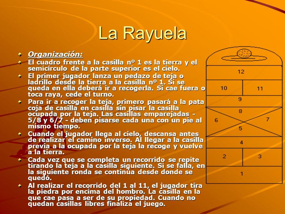 La Rayuela Organización: El cuadro frente a la casilla nº 1 es la tierra y el semicírculo de la parte superior es el cielo. El primer jugador lanza un