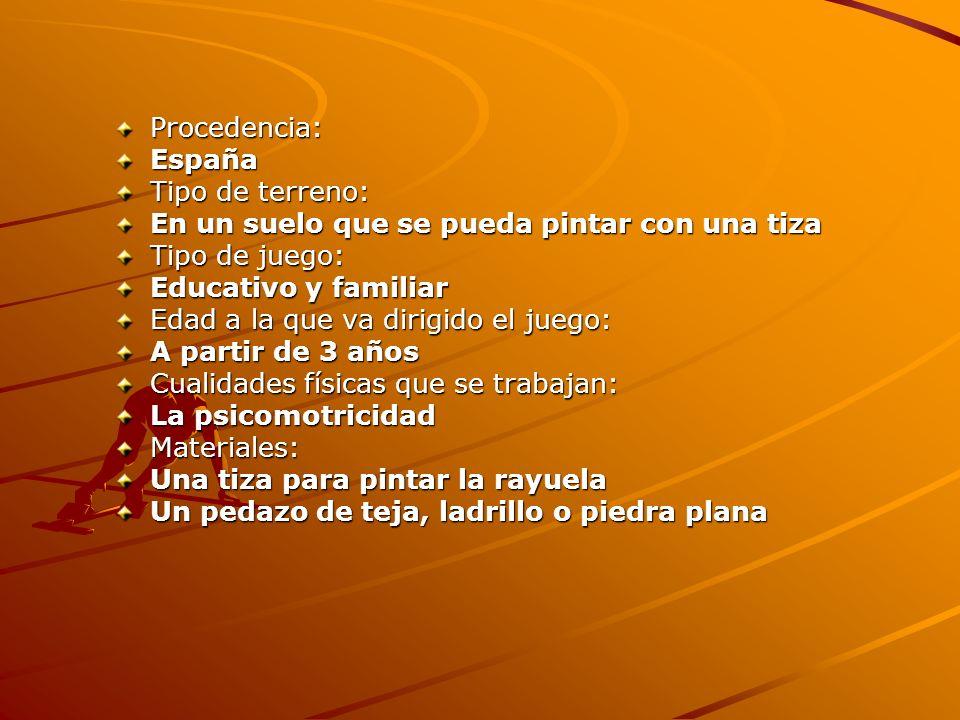 Procedencia:España Tipo de terreno: En un suelo que se pueda pintar con una tiza Tipo de juego: Educativo y familiar Edad a la que va dirigido el jueg