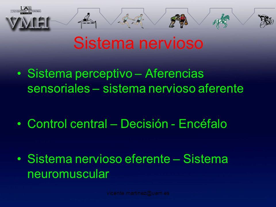 vicente.martinez@uam.es Sistema nervioso Sistema perceptivo – Aferencias sensoriales – sistema nervioso aferente Control central – Decisión - Encéfalo