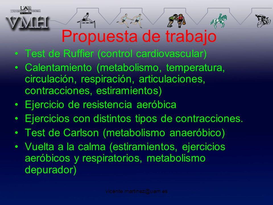 vicente.martinez@uam.es Propuesta de trabajo Test de Ruffier (control cardiovascular) Calentamiento (metabolismo, temperatura, circulación, respiració