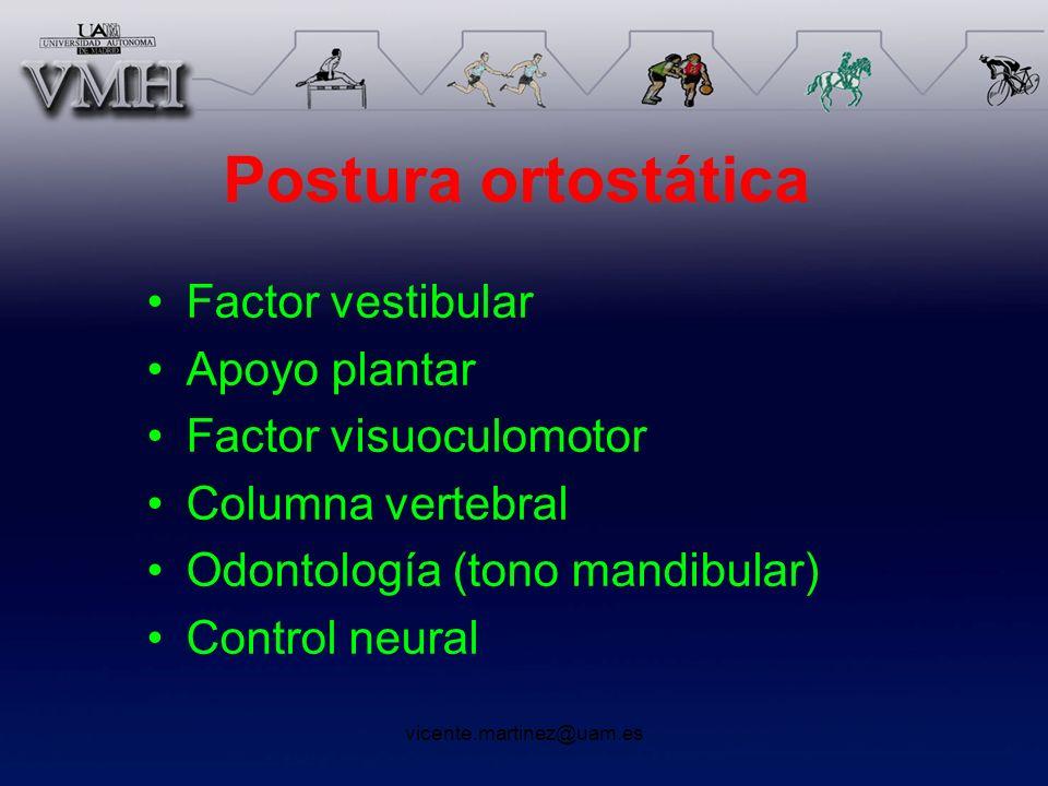 vicente.martinez@uam.es Postura ortostática Factor vestibular Apoyo plantar Factor visuoculomotor Columna vertebral Odontología (tono mandibular) Cont