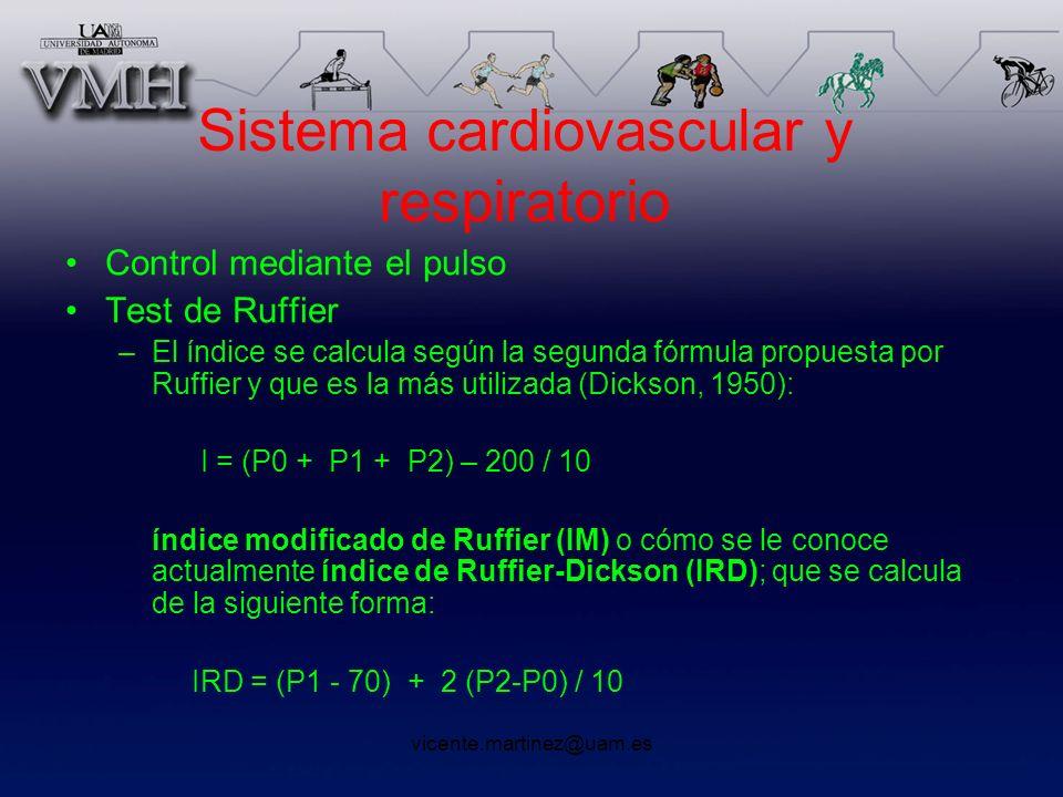 vicente.martinez@uam.es Sistema cardiovascular y respiratorio Control mediante el pulso Test de Ruffier –El índice se calcula según la segunda fórmula