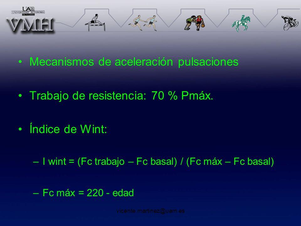 vicente.martinez@uam.es Mecanismos de aceleración pulsaciones Trabajo de resistencia: 70 % Pmáx. Índice de Wint: –I wint = (Fc trabajo – Fc basal) / (