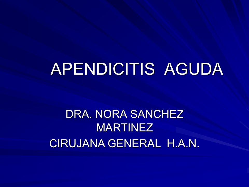 APENDICITIS AGUDA DRA. NORA SANCHEZ MARTINEZ CIRUJANA GENERAL H.A.N.