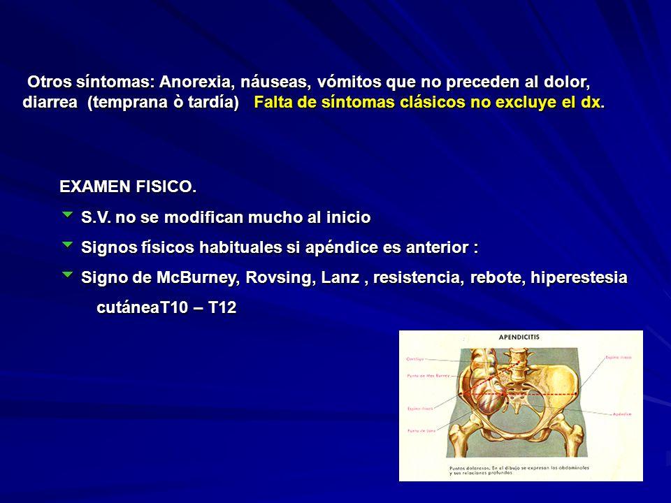 Otros síntomas: Anorexia, náuseas, vómitos que no preceden al dolor, diarrea (temprana ò tardía) Falta de síntomas clásicos no excluye el dx. Otros sí