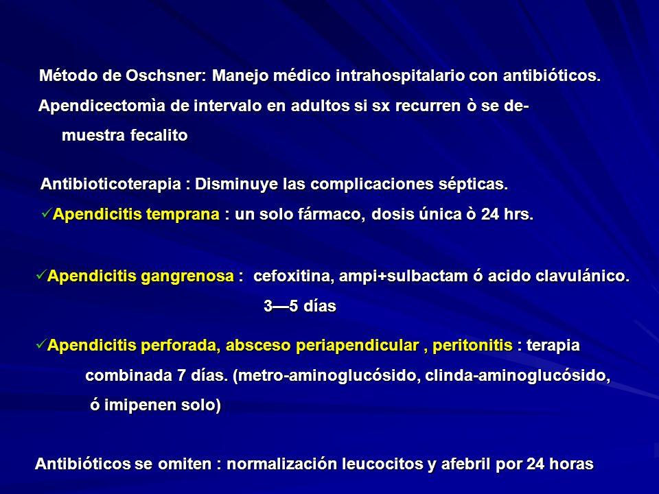 Método de Oschsner: Manejo médico intrahospitalario con antibióticos. Método de Oschsner: Manejo médico intrahospitalario con antibióticos. Apendicect