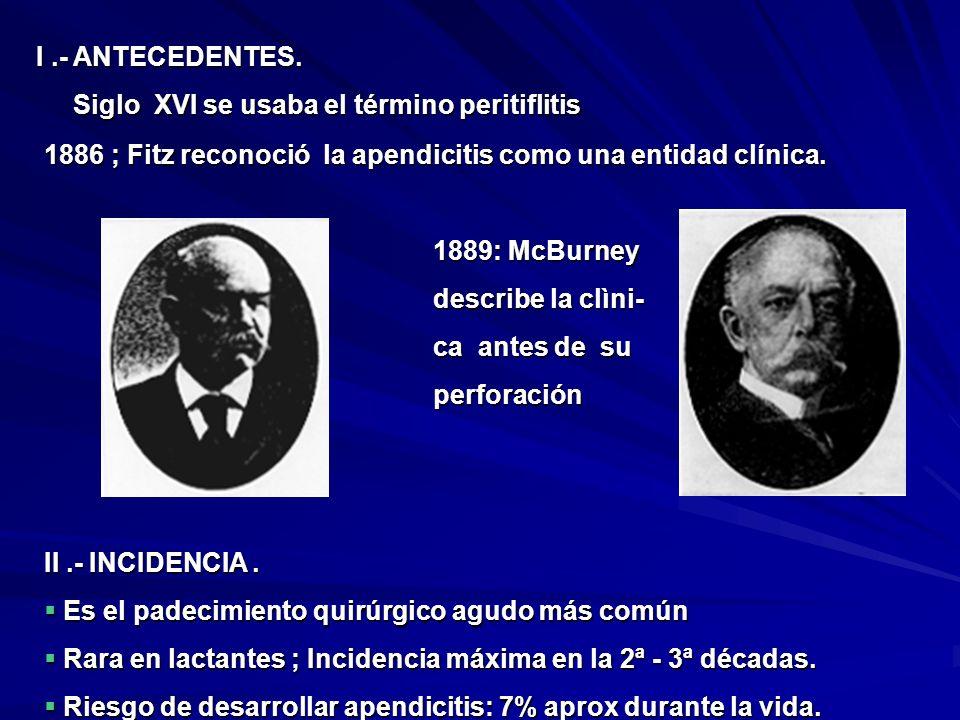 I.- ANTECEDENTES. Siglo XVI se usaba el término peritiflitis Siglo XVI se usaba el término peritiflitis 1886 ; Fitz reconoció la apendicitis como una