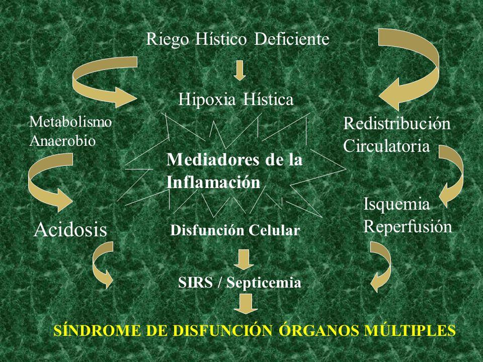 Mediadores de la Inflamación Disfunción Celular SIRS / Septicemia SÍNDROME DE DISFUNCIÓN ÓRGANOS MÚLTIPLES Acidosis Metabolismo Anaerobio Isquemia Reperfusión Redistribución Circulatoria Hipoxia Hística Riego Hístico Deficiente