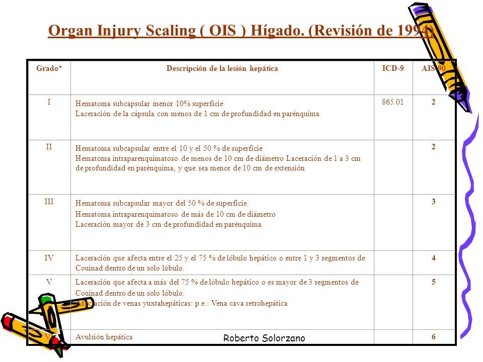 Roberto Solorzano Organ Injury Scaling ( OIS ) Hígado. (Revisión de 1994) Grado*Descripción de la lesión hepáticaICD-9AIS-90 I Hematoma subcapsular me