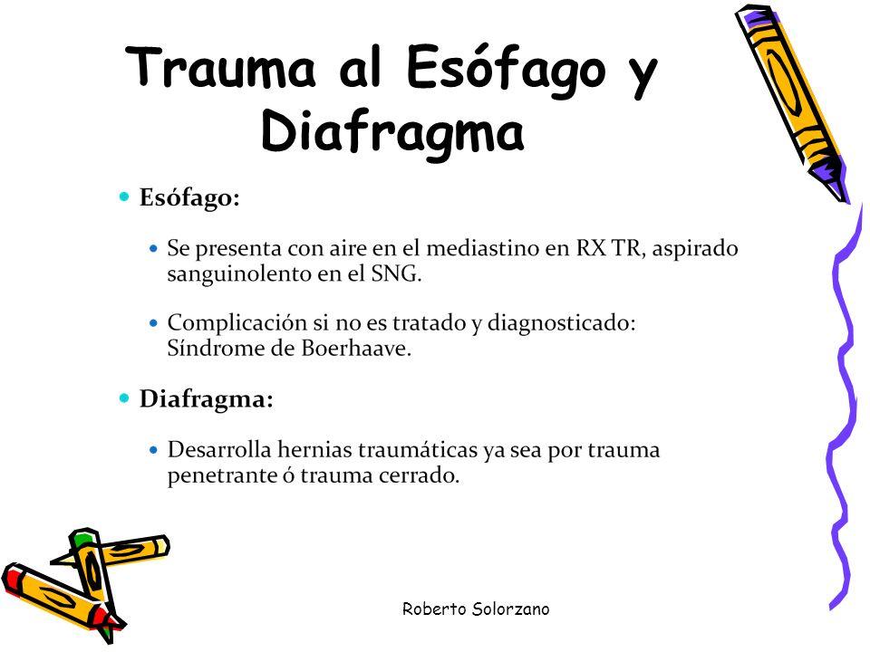 Roberto Solorzano Trauma al Esófago y Diafragma