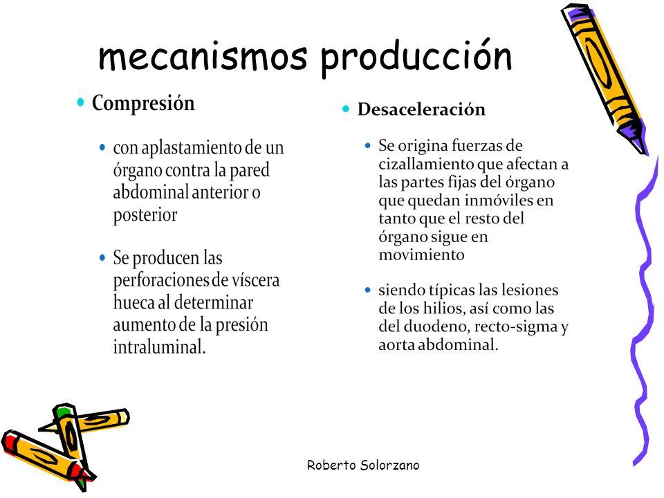 Roberto Solorzano Factores de riesgo HEMATURIA MACROSCOPICA HIPOTENSION AL MOMENTO DEL INGRESO FRACTURAS DE COSTILLAS INFERIORES FRACTURAS DE PELVIS HEMOTORAX NEUMOTORAX HEMATOMA DE PARED ABDOMINAL ABRASIONES DE PARED ABDOMINAL.