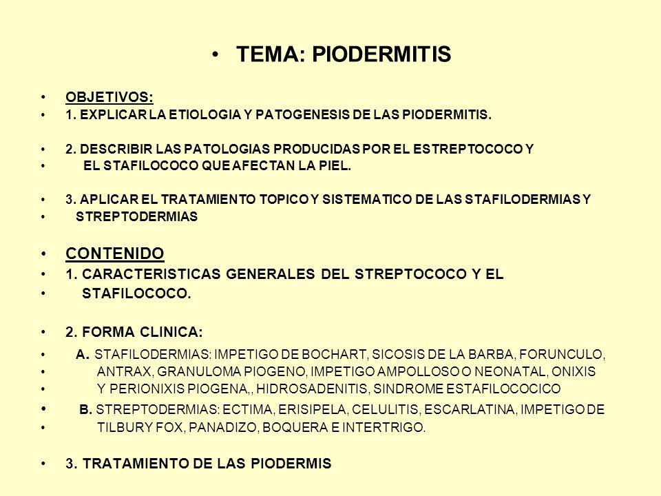 TEMA: PIODERMITIS OBJETIVOS: 1. EXPLICAR LA ETIOLOGIA Y PATOGENESIS DE LAS PIODERMITIS. 2. DESCRIBIR LAS PATOLOGIAS PRODUCIDAS POR EL ESTREPTOCOCO Y E