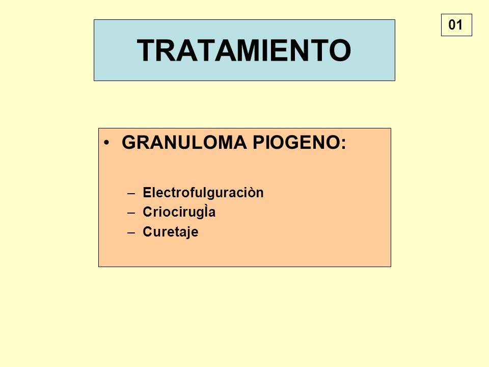 TRATAMIENTO GRANULOMA PIOGENO: –Electrofulguraciòn –CriocirugÌa –Curetaje 01