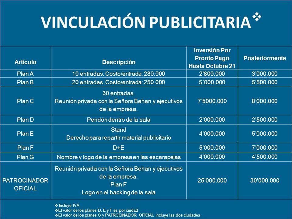 VINCULACIÓN PUBLICITARIA ArtículoDescripción Inversión Por Pronto Pago Hasta Octubre 21 Posteriormente Plan A10 entradas.