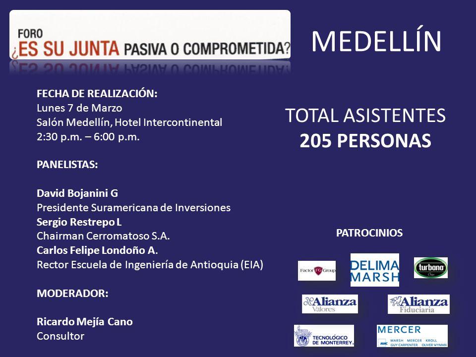 TOTAL ASISTENTES 205 PERSONAS MEDELLÍN FECHA DE REALIZACIÓN: Lunes 7 de Marzo Salón Medellín, Hotel Intercontinental 2:30 p.m.