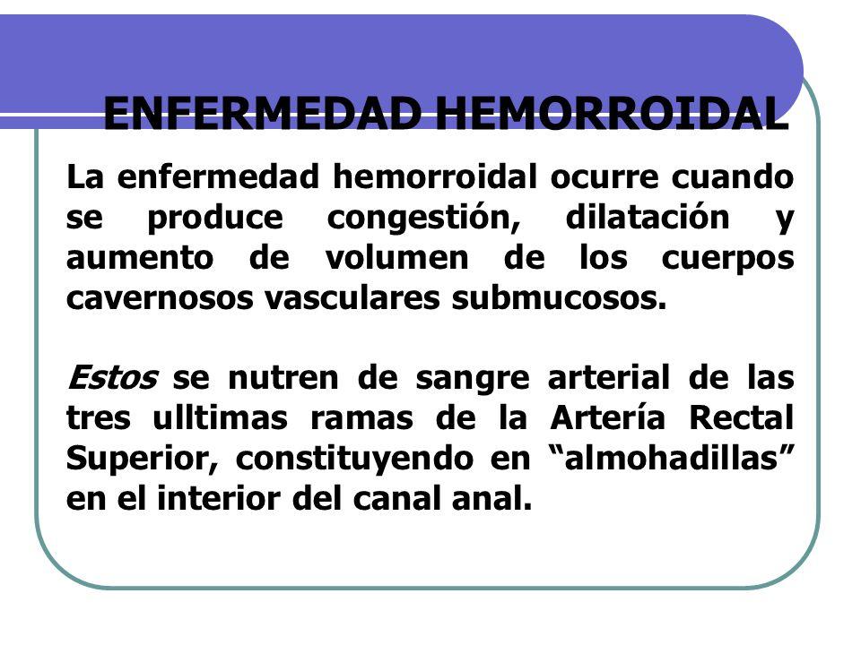 ENFERMEDAD HEMORROIDAL La enfermedad hemorroidal ocurre cuando se produce congestión, dilatación y aumento de volumen de los cuerpos cavernosos vascul