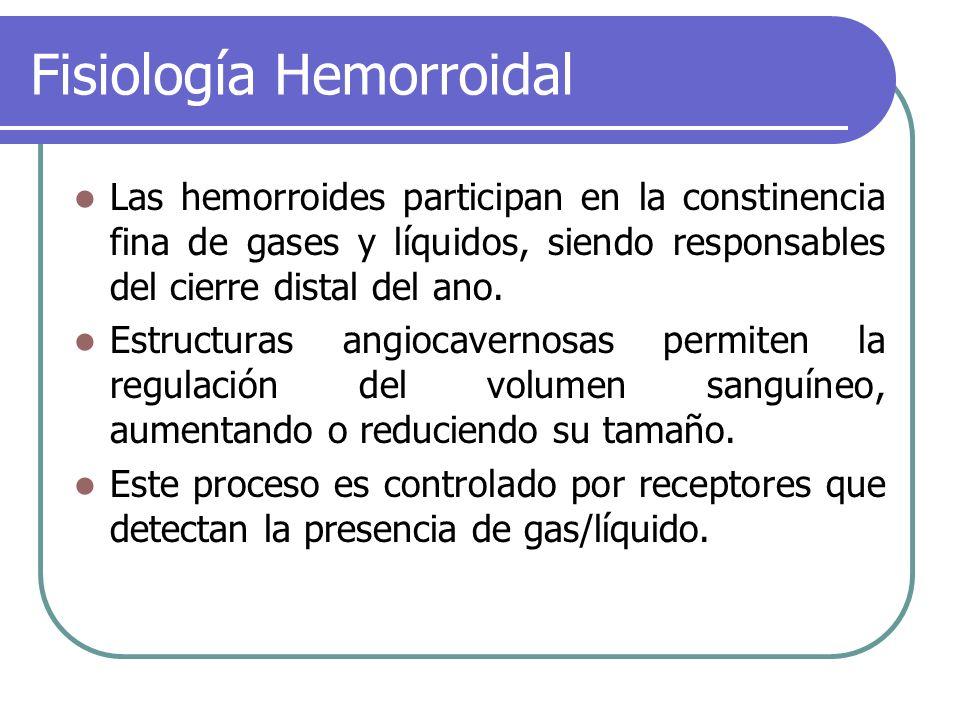 Fisiología Hemorroidal Las hemorroides participan en la constinencia fina de gases y líquidos, siendo responsables del cierre distal del ano. Estructu