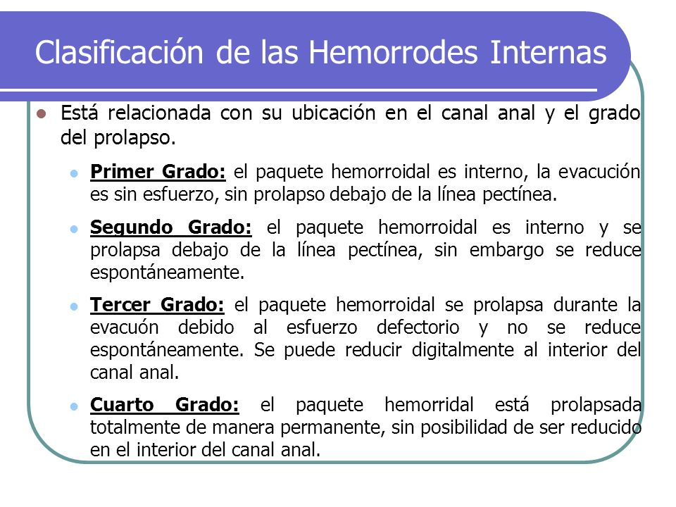 Clasificación de las Hemorrodes Internas Está relacionada con su ubicación en el canal anal y el grado del prolapso. Primer Grado: el paquete hemorroi