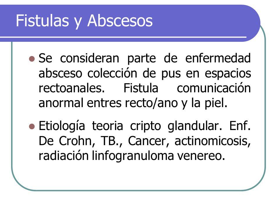 Fistulas y Abscesos Se consideran parte de enfermedad absceso colección de pus en espacios rectoanales. Fistula comunicación anormal entres recto/ano