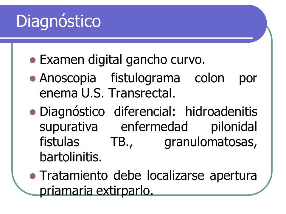 Diagnóstico Examen digital gancho curvo. Anoscopia fistulograma colon por enema U.S. Transrectal. Diagnóstico diferencial: hidroadenitis supurativa en