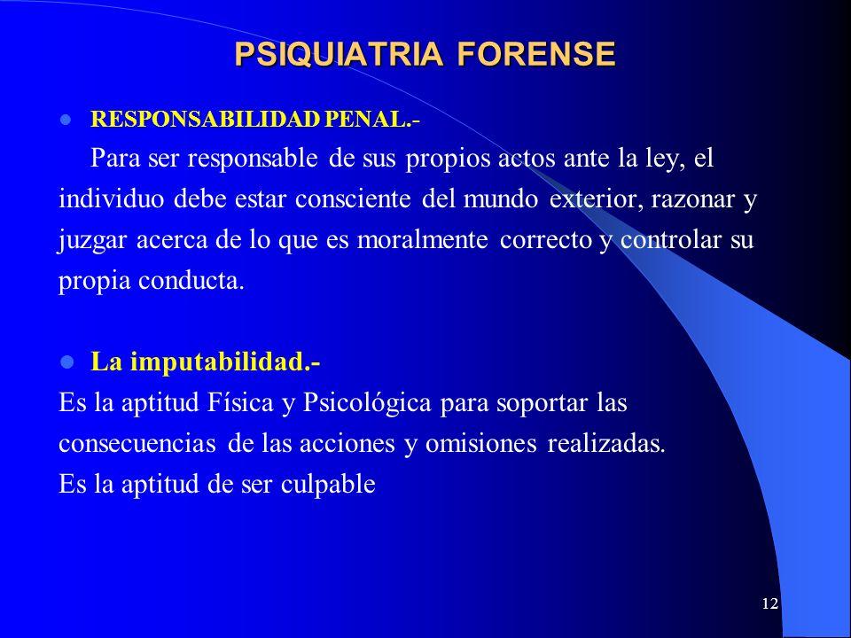 12 PSIQUIATRIA FORENSE RESPONSABILIDAD PENAL.- Para ser responsable de sus propios actos ante la ley, el individuo debe estar consciente del mundo ext