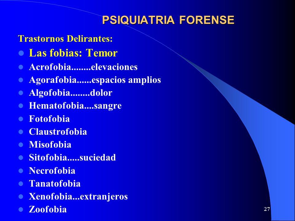 27 PSIQUIATRIA FORENSE Trastornos Delirantes: Las fobias: Temor Acrofobia........elevaciones Agorafobia......espacios amplios Algofobia........dolor H