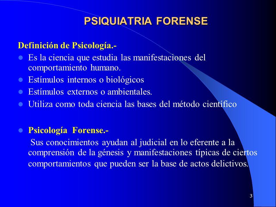 3 PSIQUIATRIA FORENSE Definición de Psicología.- Es la ciencia que estudia las manifestaciones del comportamiento humano. Estímulos internos o biológi