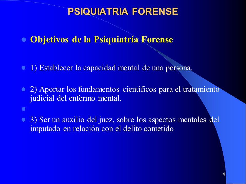4 PSIQUIATRIA FORENSE Objetivos de la Psiquiatría Forense 1) Establecer la capacidad mental de una persona. 2) Aportar los fundamentos científicos par