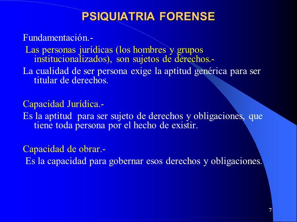 7 PSIQUIATRIA FORENSE Fundamentación.- Las personas jurídicas (los hombres y grupos institucionalizados), son sujetos de derechos.- La cualidad de ser