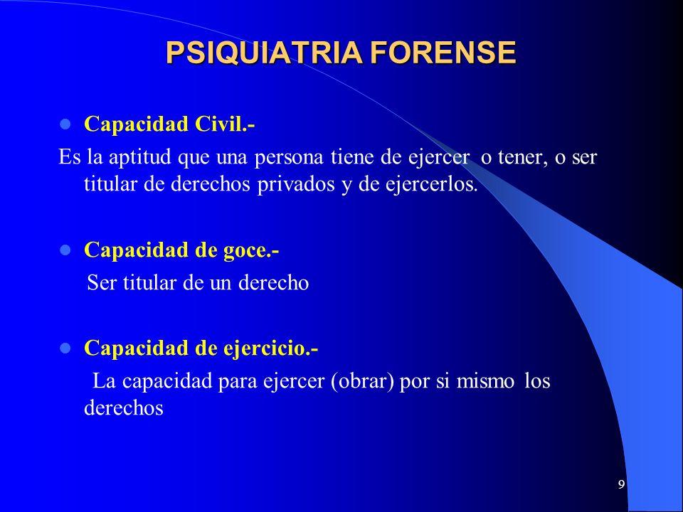 9 PSIQUIATRIA FORENSE Capacidad Civil.- Es la aptitud que una persona tiene de ejercer o tener, o ser titular de derechos privados y de ejercerlos. Ca
