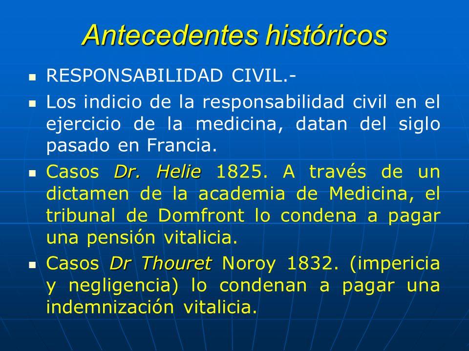 Antecedentes históricos RESPONSABILIDAD CIVIL.- Los indicio de la responsabilidad civil en el ejercicio de la medicina, datan del siglo pasado en Fran