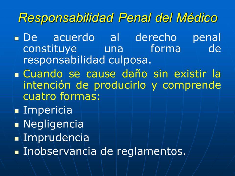Responsabilidad Penal del Médico De acuerdo al derecho penal constituye una forma de responsabilidad culposa. Cuando se cause daño sin existir la inte