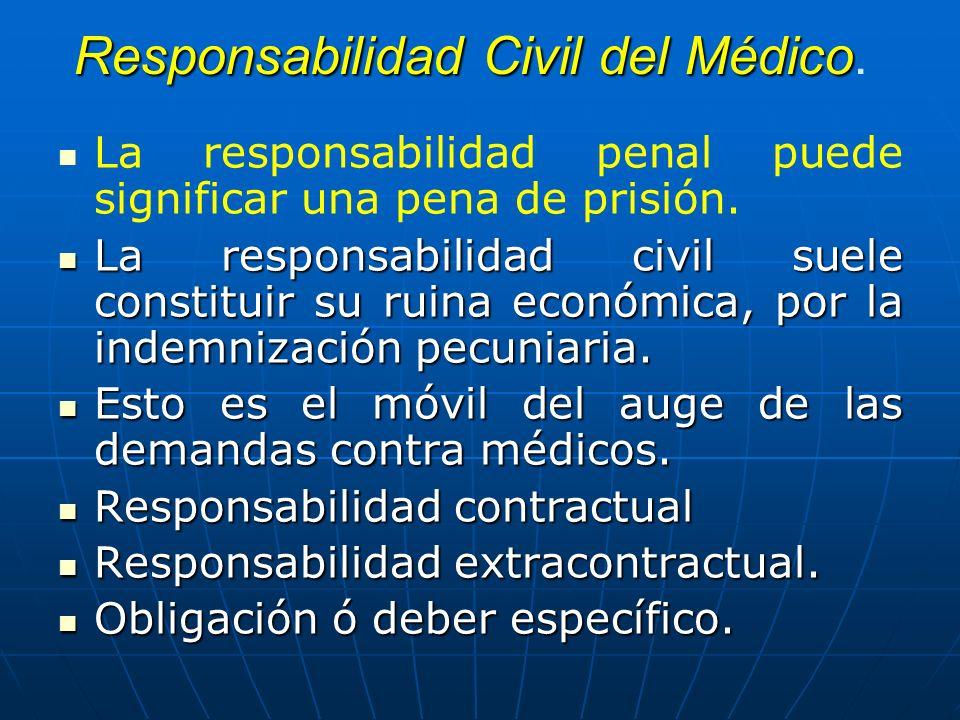 Responsabilidad Civil del Médico Responsabilidad Civil del Médico. La responsabilidad penal puede significar una pena de prisión. La responsabilidad c