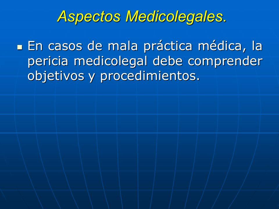Aspectos Medicolegales. En casos de mala práctica médica, la pericia medicolegal debe comprender objetivos y procedimientos. En casos de mala práctica