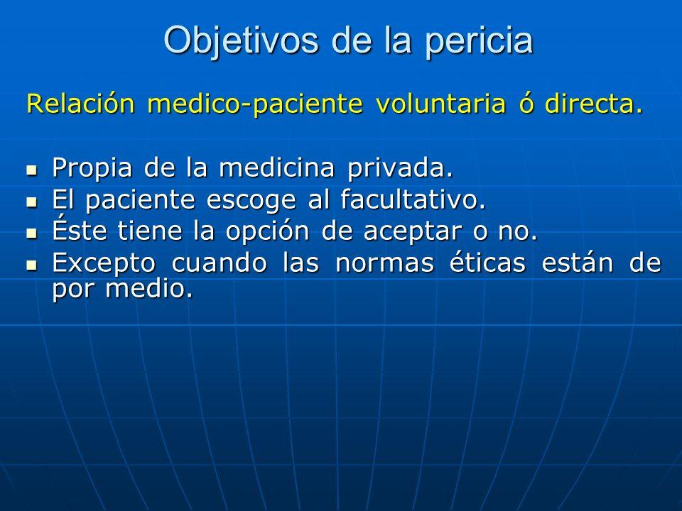 Objetivos de la pericia Relación medico-paciente voluntaria ó directa. Propia de la medicina privada. Propia de la medicina privada. El paciente escog